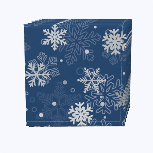 "Napkin Set, 100% Polyester, Set of 12, 18x18"", Winter Blue Snowflakes Perspective: front"