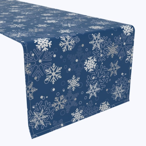 "Table Runner, 100% Polyester, 14x108"", Winter Blue Snowflakes Perspective: front"