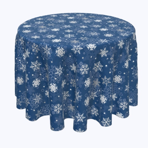 "Round Tablecloth, 100% Polyester, 60"" Round, Winter Blue Snowflakes Perspective: front"