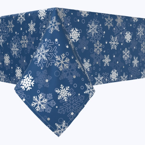 "Rectangular Tablecloth, 100% Polyester, 60x84"", Winter Blue Snowflakes Perspective: front"