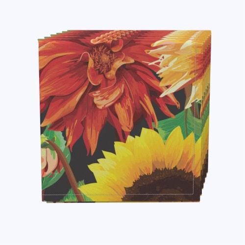 "Napkin Set, 100% Polyester, Set of 12, 18x18"", Sunflower Garden Perspective: front"
