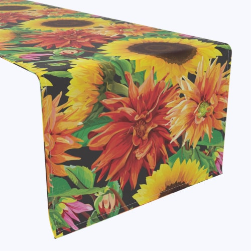 "Table Runner, 100% Polyester, 14x108"", Sunflower Garden Perspective: front"