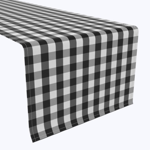 "Table Runner, 100% Polyester, 12x72"", Picnic Check, Black Perspective: front"