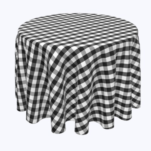 "Round Tablecloth, 100% Polyester, 60"" Round, Picnic Check, Black Perspective: front"