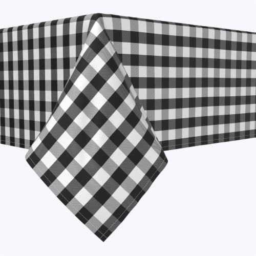 """Rectangular Tablecloth, 100% Polyester, 60x84"""", Picnic Check, Black Perspective: front"""