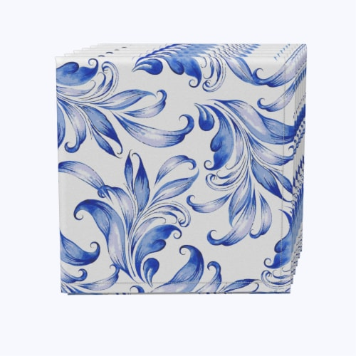 """Napkin Set, 100% Polyester, Set of 12, 18x18"""", Blue Traditional Leaves Perspective: front"""
