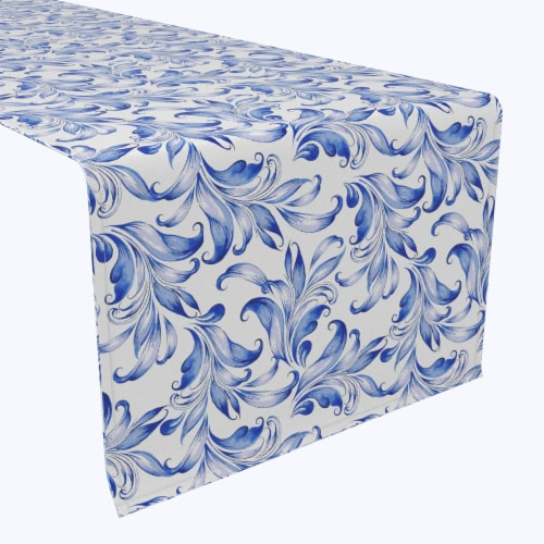 "Table Runner, 100% Polyester, 14x108"", Blue Traditional Leaves Perspective: front"