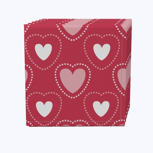 """Napkin Set, 100% Polyester, Set of 12, 18x18"""", Hearts in Stitches Perspective: front"""