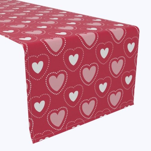 "Table Runner, 100% Polyester, 14x108"", Hearts in Stitches Perspective: front"