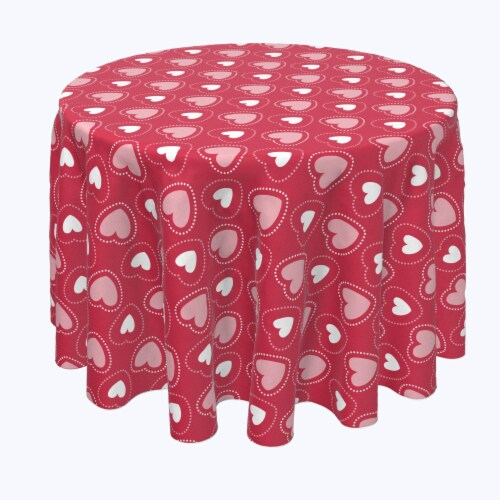 "Round Tablecloth, 100% Polyester, 60"" Round, Hearts in Stitches Perspective: front"