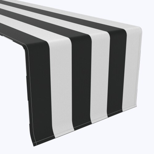 "Table Runner, 100% Polyester, 12x72"", 3"" Cabana Stripe, Black & White Perspective: front"