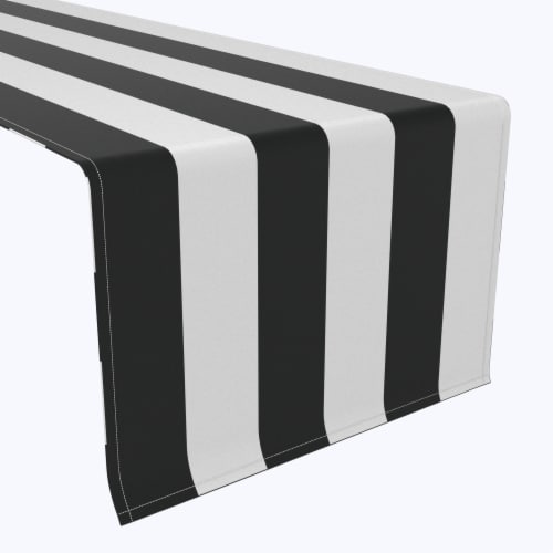 "Table Runner, 100% Polyester, 14x108"", 3"" Cabana Stripe, Black & White Perspective: front"
