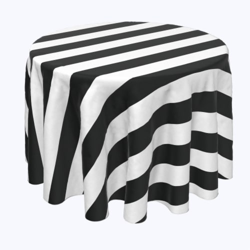 "Round Tablecloth, 100% Polyester, 60"" Round, 3"" Cabana Stripe, Black & White Perspective: front"