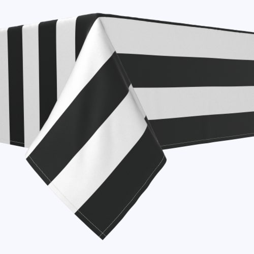 "Rectangular Tablecloth, 100% Polyester, 60x120"", 3"" Cabana Stripe, Black & White Perspective: front"