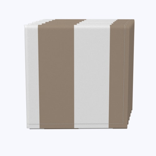 "Napkin Set, 100% Polyester, Set of 12, 18x18"", 3"" Cabana Stripe, Khaki & White Perspective: front"