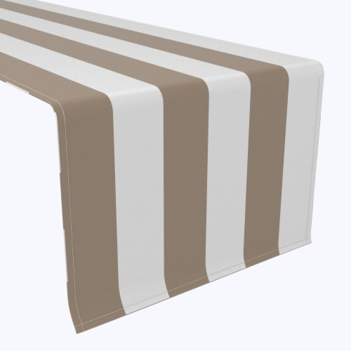 "Table Runner, 100% Polyester, 14x108"", 3"" Cabana Stripe, Khaki & White Perspective: front"