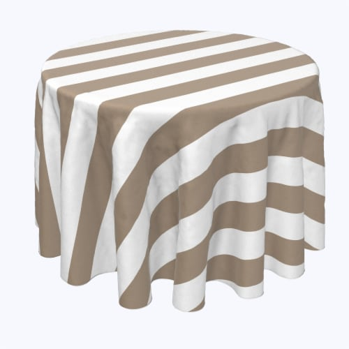 """Round Tablecloth, 100% Polyester, 60"""" Round, 3"""" Cabana Stripe, Khaki & White Perspective: front"""