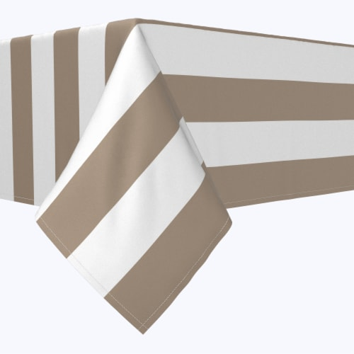 "Rectangular Tablecloth, 100% Polyester, 60x104"", 3"" Cabana Stripe, Khaki & White Perspective: front"