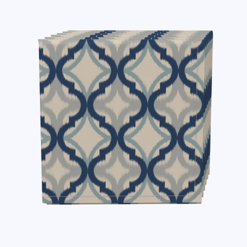"""Napkin Set, 100% Polyester, Set of 12, 18x18"""", Blue Diamond Ogee Perspective: front"""
