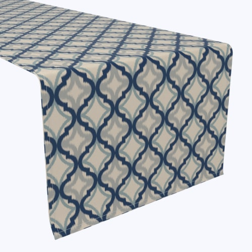 "Table Runner, 100% Polyester, 14x108"", Blue Diamond Ogee Perspective: front"