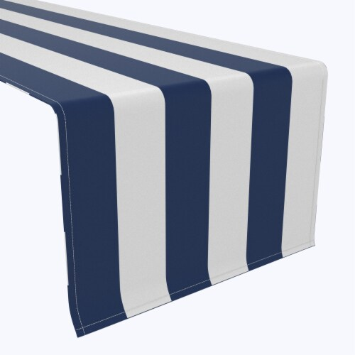 "Table Runner, 100% Polyester, 14x108"", 3"" Cabana Stripe, Navy & White Perspective: front"