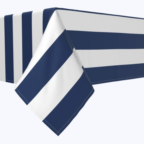 """Rectangular Tablecloth, 100% Polyester, 60x84"""", 3"""" Cabana Stripe, Navy & White Perspective: front"""