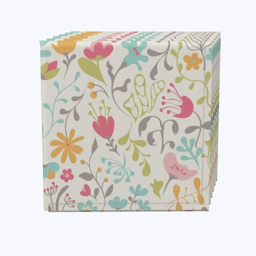 "Napkin Set, 100% Polyester, Set of 12, 18x18"", Blooming Springs Perspective: front"
