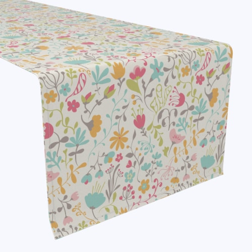 "Table Runner, 100% Polyester, 14x108"", Blooming Springs Perspective: front"