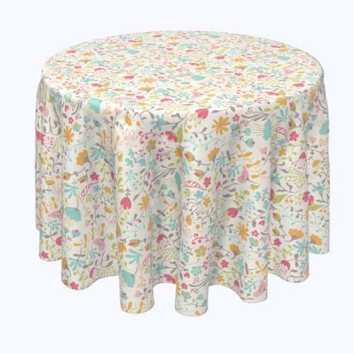 """Round Tablecloth, 100% Polyester, 60"""" Round, Blooming Springs Perspective: front"""