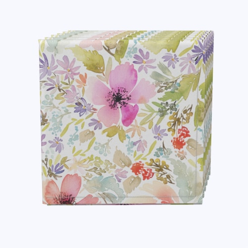 "Napkin Set, 100% Polyester, Set of 12, 18x18"", Botanical Garden Dogwood Perspective: front"