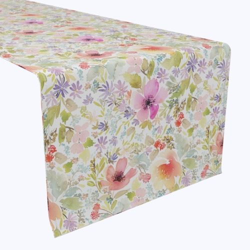 "Table Runner, 100% Polyester, 12x72"", Botanical Garden Dogwood Perspective: front"