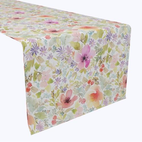 "Table Runner, 100% Polyester, 14x108"", Botanical Garden Dogwood Perspective: front"