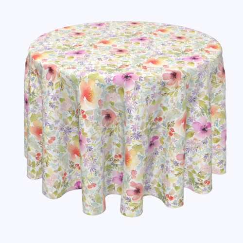 "Round Tablecloth, 100% Polyester, 60"" Round, Botanical Garden Dogwood Perspective: front"