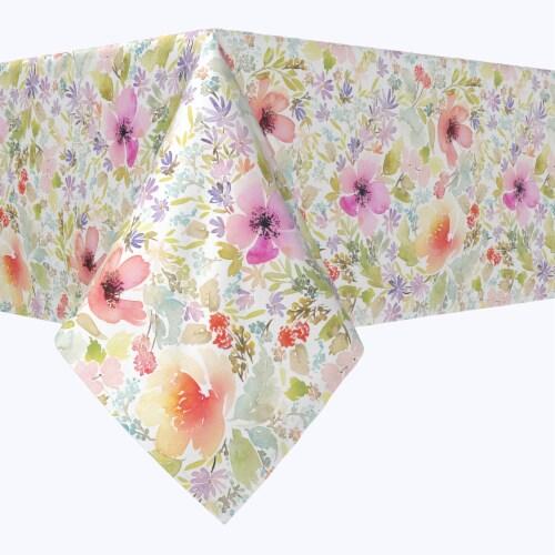 "Rectangular Tablecloth, 100% Polyester, 60x84"", Botanical Garden Dogwood Perspective: front"