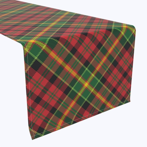 "Table Runner, 100% Polyester, 12x72"", Christmas Plaid Perspective: front"