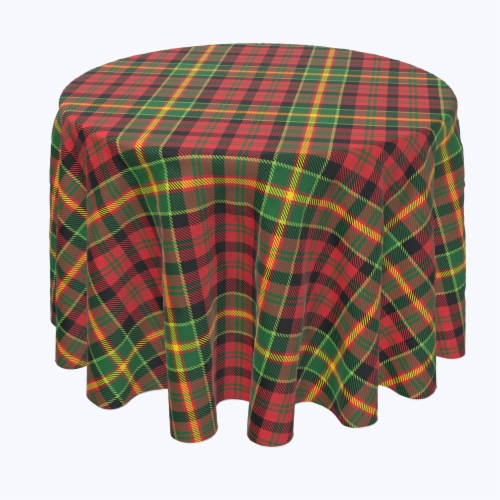 "Round Tablecloth, 100% Polyester, 60"" Round, Christmas Plaid Perspective: front"