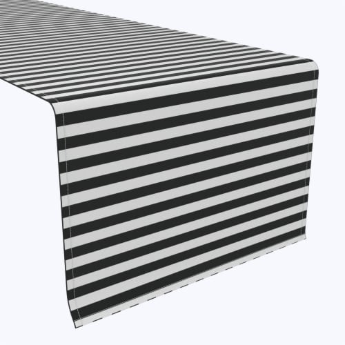 "Table Runner, 100% Polyester, 14x108"", Small Stripes, Black Perspective: front"