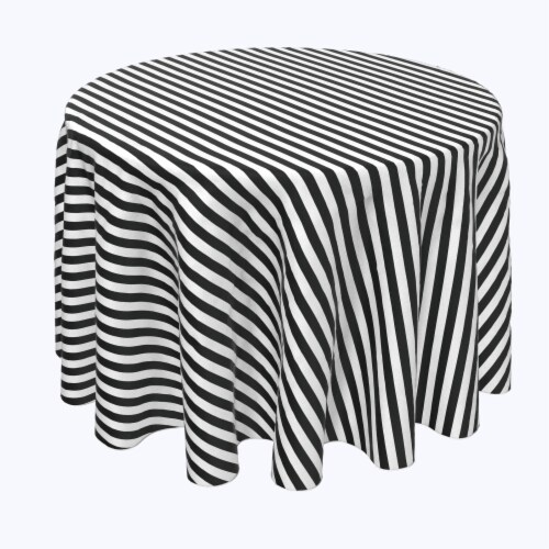 """Round Tablecloth, 100% Polyester, 60"""" Round, Small Stripes, Black Perspective: front"""
