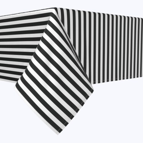 "Rectangular Tablecloth, 100% Polyester, 60x120"", Small Stripes, Black Perspective: front"