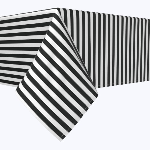 """Rectangular Tablecloth, 100% Polyester, 60x84"""", Small Stripes, Black Perspective: front"""