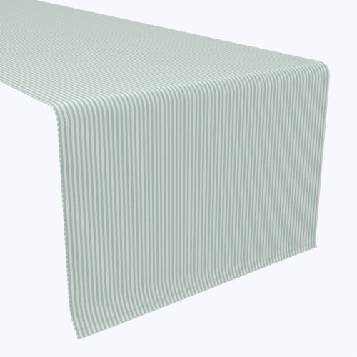 """Table Runner, 100% Polyester, 14x108"""", Pinstripes, Celadon & White Perspective: front"""
