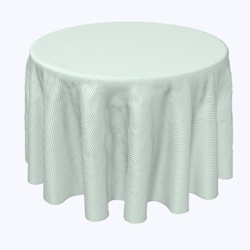 """Round Tablecloth, 100% Polyester, 60"""" Round, Pinstripes, Celadon & White Perspective: front"""