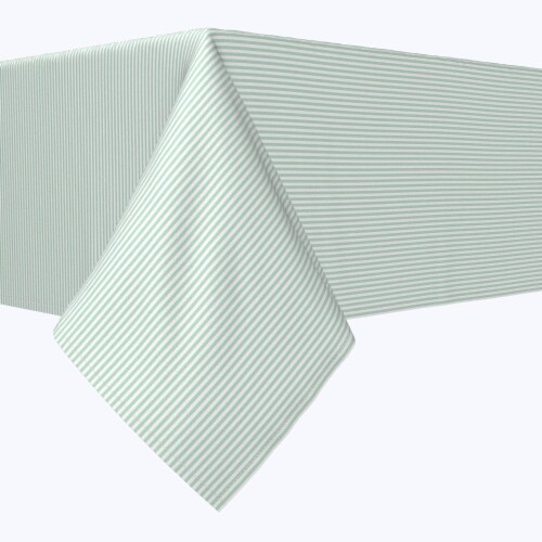 "Rectangular Tablecloth, 100% Polyester, 60x104"", Pinstripes, Celadon & White Perspective: front"