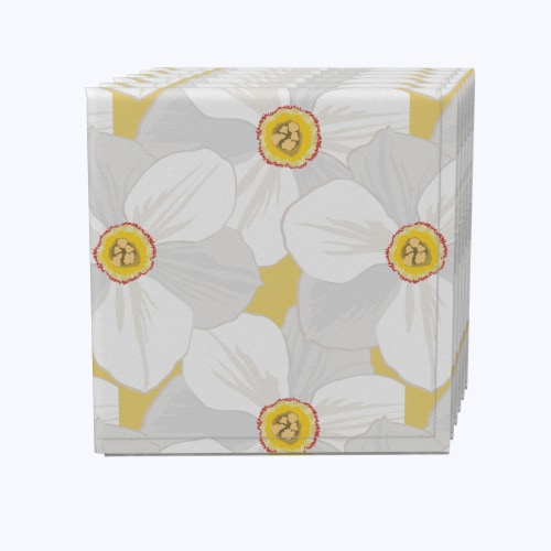 "Napkin Set, 100% Polyester, Set of 12, 18x18"", Large Petal Flowers Perspective: front"