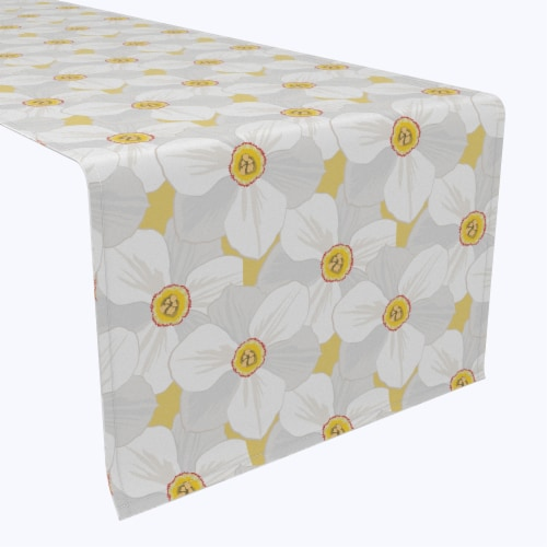 "Table Runner, 100% Polyester, 14x108"", Large Petal Flowers Perspective: front"