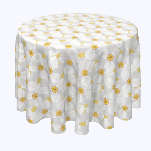 "Round Tablecloth, 100% Polyester, 60"" Round, Large Petal Flowers Perspective: front"