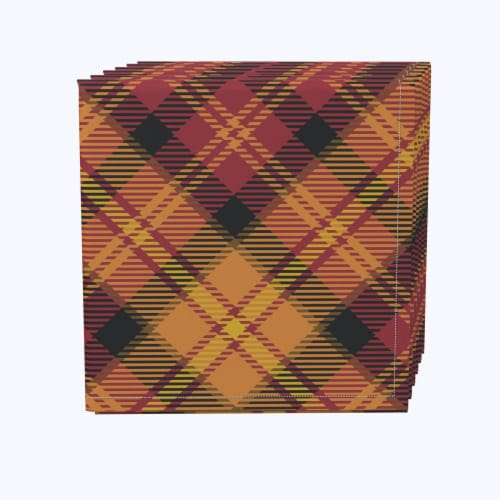 "Napkin Set, 100% Polyester, Set of 12, 18x18"", Plaid, Fall Harvest Perspective: front"