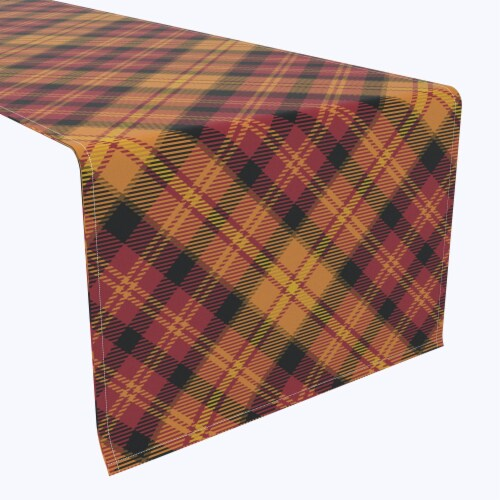 "Table Runner, 100% Polyester, 14x108"", Plaid, Fall Harvest Perspective: front"