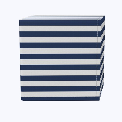 "Napkin Set, 100% Polyester, Set of 12, 18x18"", Small Stripes, Navy Perspective: front"