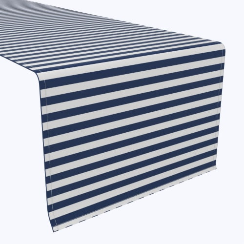 "Table Runner, 100% Polyester, 14x108"", Small Stripes, Navy Perspective: front"
